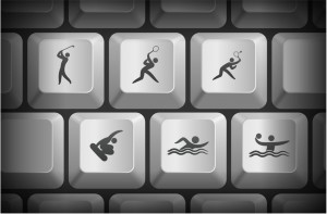 22444484 - sport icons on computer keyboard buttons original illustration