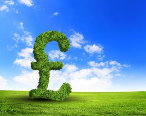 14184143 - green grass  uk pound symbol against blue sky